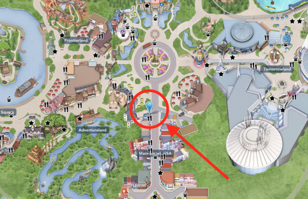 Map of Disneyland showing the location of the Refreshment Corner