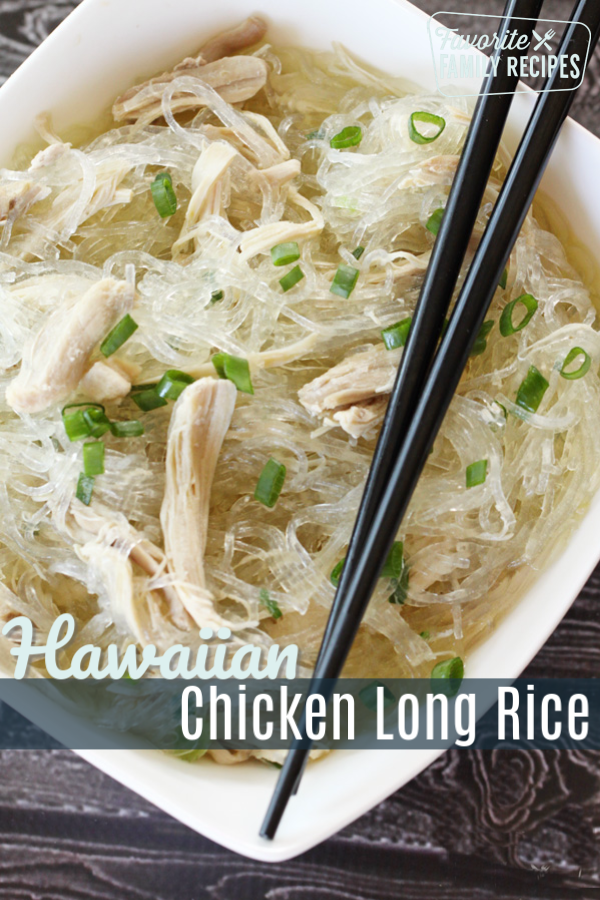 Chicken long rice is a favorite of locals in Hawaii. It is a flavorful, light dish that is great on its own or with any of your favorite Hawaiian foods! #hawaii #hawaiianfood #islandfood #noodles #chickennoodles #longrice #rice #chickenlongrice #luau #luaufood #grindz #ono #glassnoodles #beanvermicelli #cellophanenoodles #beanthread #summerfood #summersoup #sidedish #chicken #hawaiianchicken