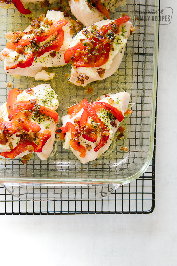 Pan of Pesto Chicken on a cooling rack.