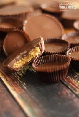 homemade peanut butter cups on a wood board