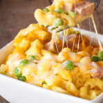 Homemade Macaroni and Cheese with Ham and Peas