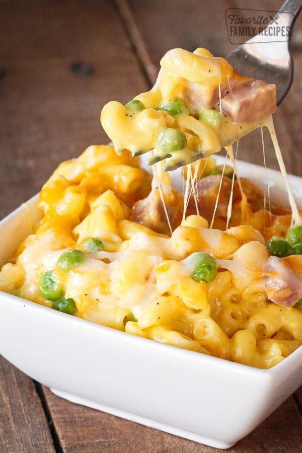 Homemade Macaroni and Cheese with Ham and Peas