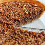 Brown Butter Pecan Pie with a Slice Removed