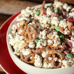 Christmas Crunch Popcorn Pretzels and Candy in a Bowl