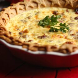 Christmas Quiche in a baking dish