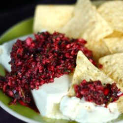 Cranberry Salsa over cream cheese with tortilla chips on the side.