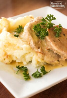 Easy Crock Pot Pork Chops with mashed potatoes on a white plate.