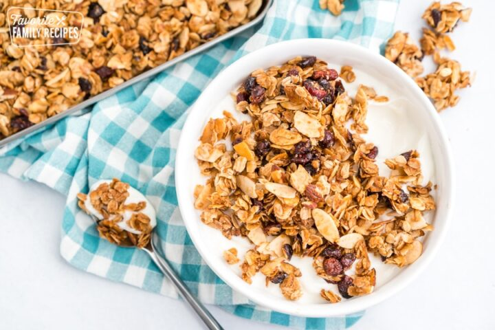 Yogurt and granola in a bowl