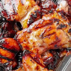 Close up of several pieces of Grilled Hawaiian Teriyaki Chicken