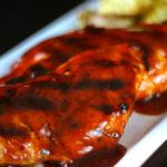 Honey BBQ Chicken on a white tray.