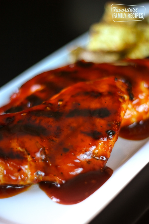 Honey BBQ Chicken on a white tray.