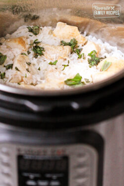 Instant Pot Chicken and Rice with Basil Cream Sauce