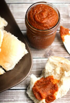 Maple Pumpkin Butter in a mason jar and spread onto a roll.