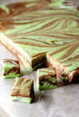 Mint Chocolate Fudge Swirl slab with 3 pieces cut out.