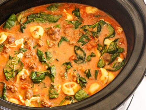 Cheese Tortellini Soup in a Slow Cooker