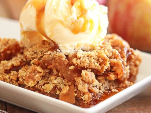 Traditional Apple Crisp with Ice Cream and Caramel Drizzle