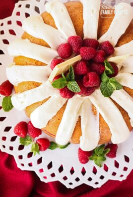 Above view of Nothing Bundt Cakes White Chocolate Raspberry Cake on a white platter.