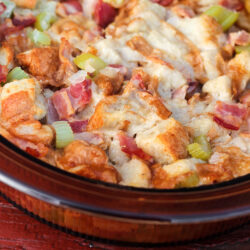 Bacon Stuffing in a Baking Dish