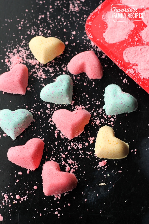 Our Version of Lush Bath Bombs in the shape of hearts.