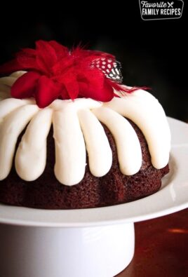 Chocolate Chocolate Chip Nothing Bundt Cake Copycat on a Serving Plate