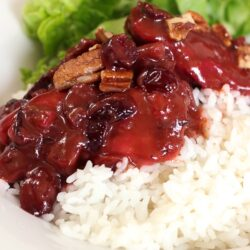 Cranberry Chicken over white rice with salad on the side.