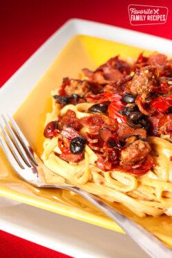 Cowboy Spaghetti on a yellow plate.