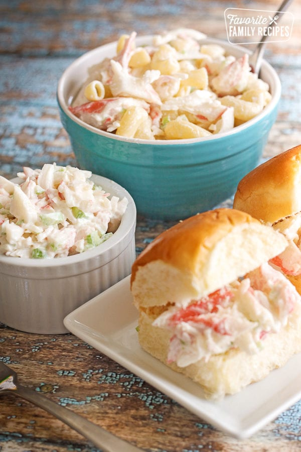 Crab Salad in a Bowl, in a dish with pasta, and as a sandwich filling on rolls