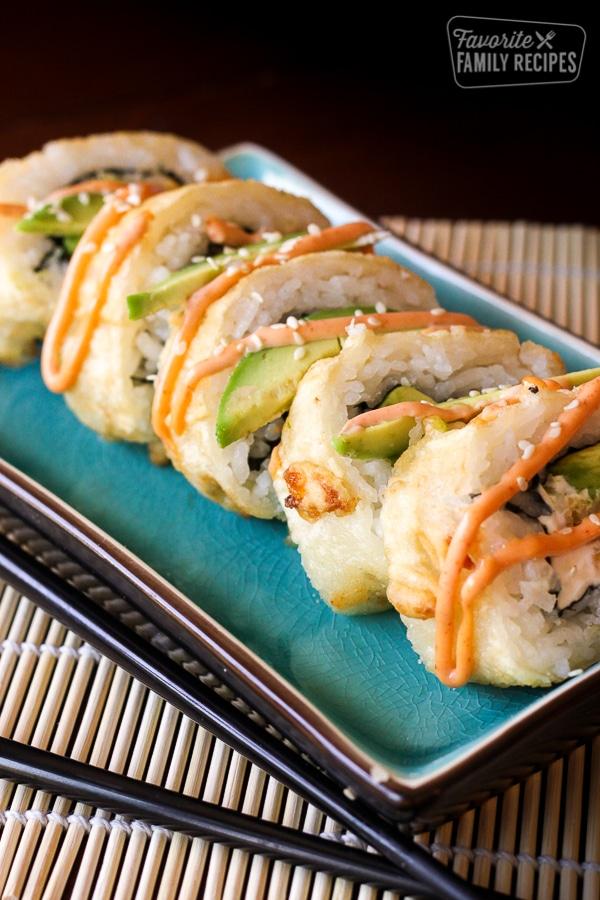 shrimp tempura rolls on a plate