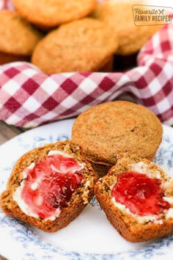 High Fiber Cereal Bran Muffins with Butter and Jam