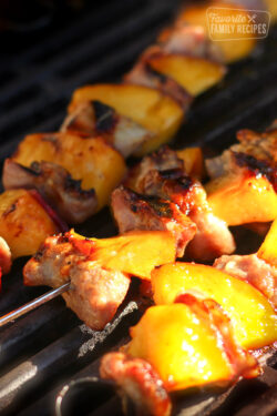 3 Honey Mustard Nectarine Pork Kabobs on a grill