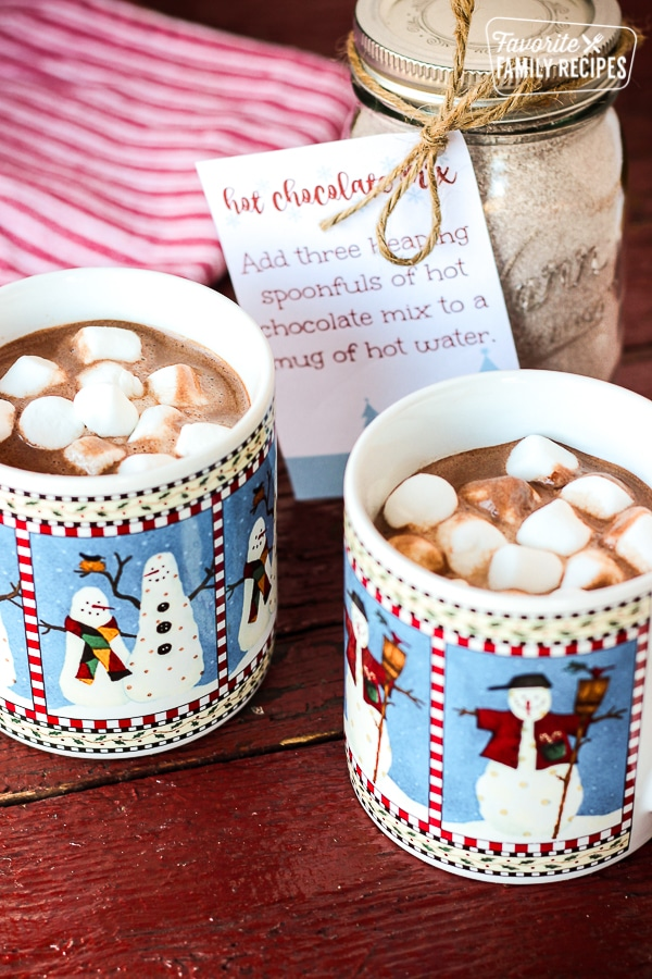 Hot Chocolate Mix with Two Mugs of Hot Chocolate