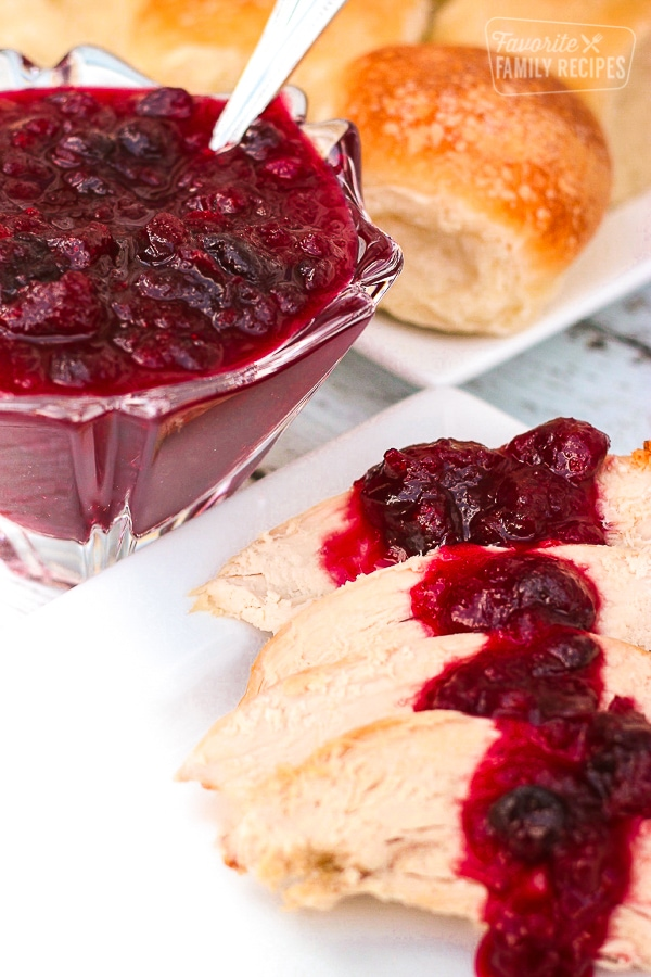 Orange Cranberry Sauce over slices of turkey