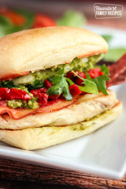 Our Version of Cubby's Pikey Chicken Sandwich with bacon and pesto.