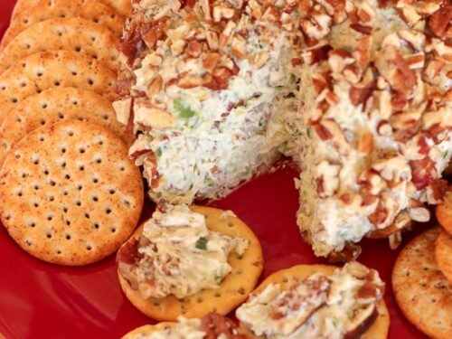 Pineapple Pecan Cheese Ball Plated with Crackers