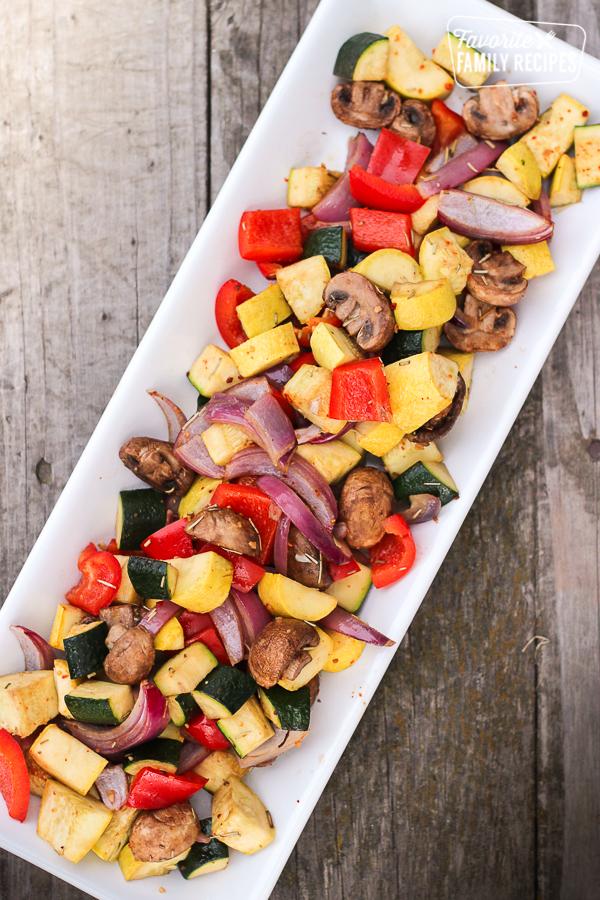white platter of oven roasted vegetables