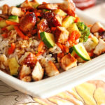 Rumbi Rice Bowls on a square plate