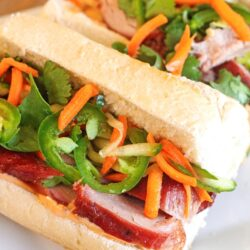 Vietnamese Pork Bahn Mi Sandwiches on a Plate