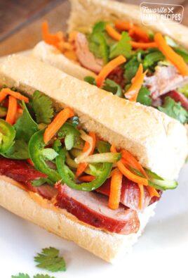 Vietnamese Pork Bahn Mi Sandwiches on a Plate