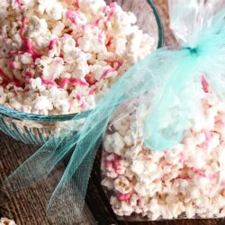 White Chocolate Popcorn in a gift bag
