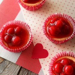 4 Mini Cherry Cheesecakes in pink and red paper liners.