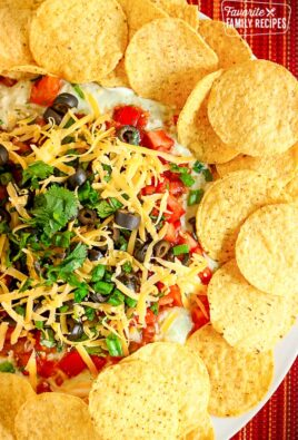 9 Layer Bean Dip Surrounded By Tortilla Chips