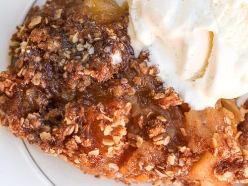 slice of gluten free apple pie with ice cream