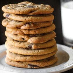 Bakery Chocolate Chip Cookies Stacked on a Plate