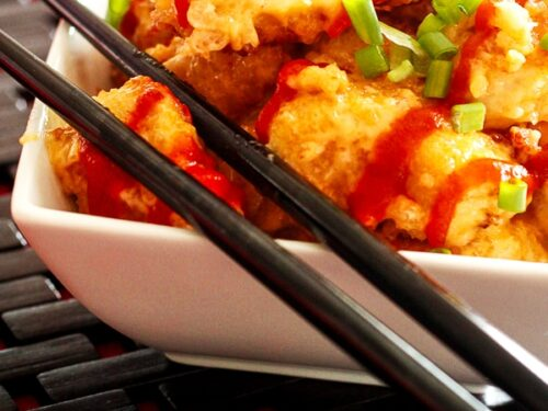 Bonefish Grill's Bang Bang Shrimp in a white bowl with black chopsticks