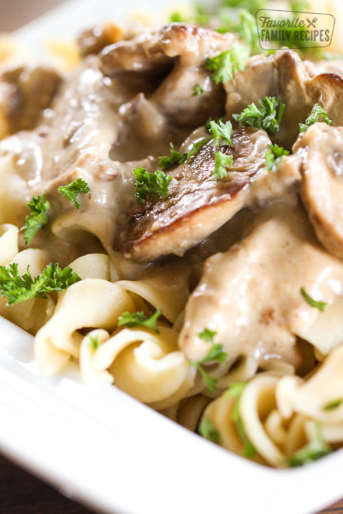 close up of beef stroganoff on white plate