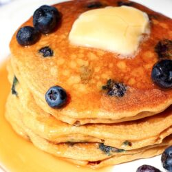 Stack of Whole Wheat Blueberry Pancakes