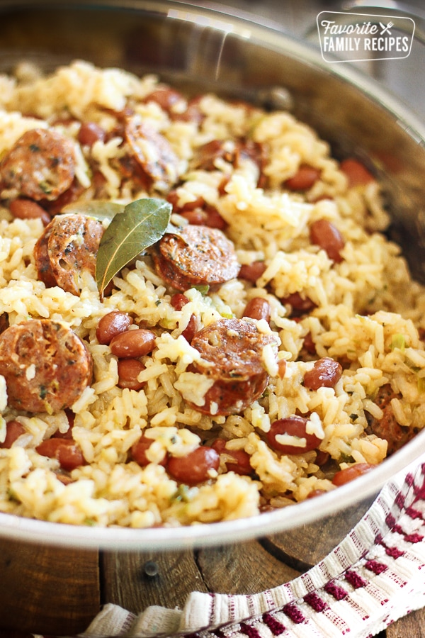 Brazilian Beans and Rice with Sausage in a pot