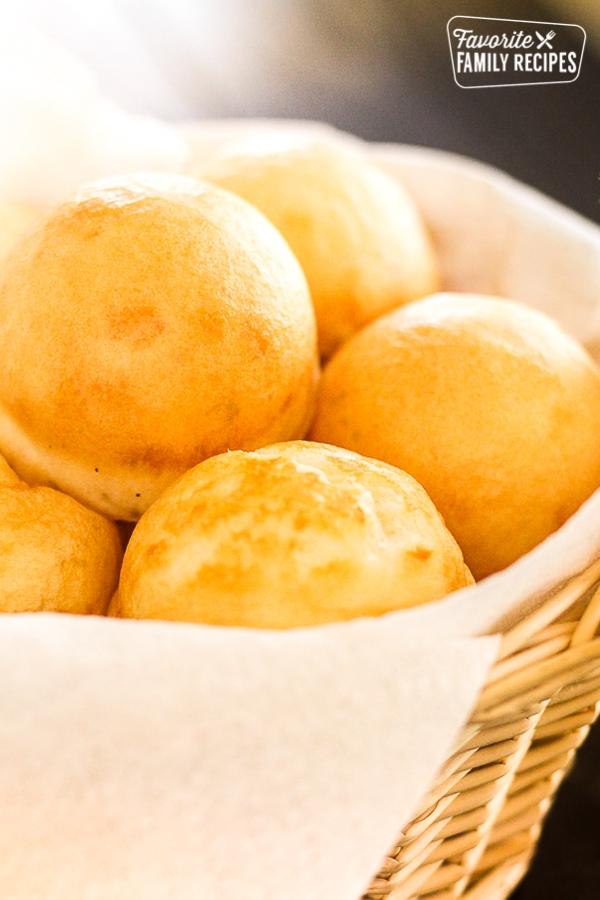Brazilian Cheese Bread in a Basket