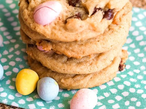 Cadbury Egg Cookies stacked on top of each other.