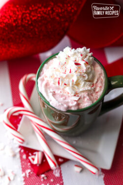Candy Cane Hot Chocolate in a Mug with candy canes on the side